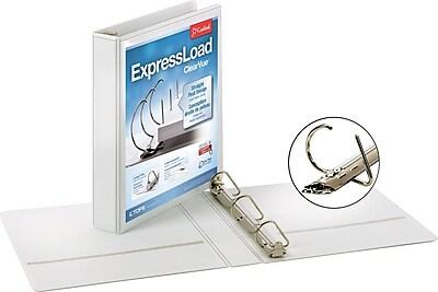 Cardinal ExpressLoad ClearVue 1.5-Inch D 3-Ring Binder, White (49110)