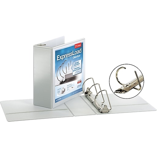 cardinal expressload clearvue 4 inch d 3 ring view binder white