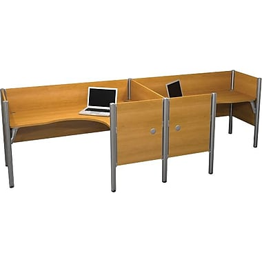 Bestar Pro-Biz Office System Double Side-by-Side Workstation, Additional Privacy Panels, 3/4 Wall, Cappuccino Cherry