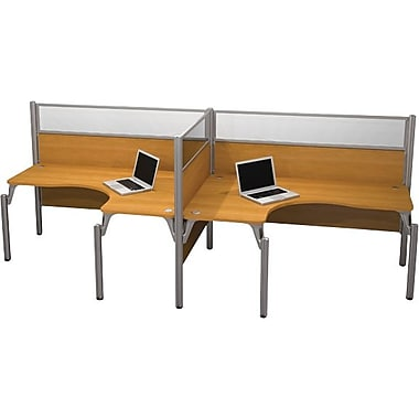 Bestar Pro-Biz Office System Double Side-by-Side Workstation, Full Wall, Cappuccino Cherry