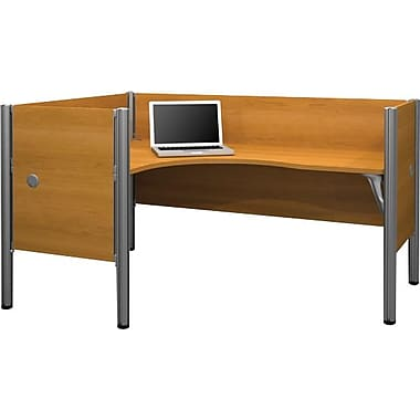 Bestar Pro-Biz Office System Single Left L-Desk Workstation, Additional Privacy Panels, 3/4 Wall, Cappuccino Cherry