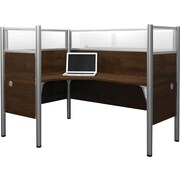 Bestar Pro-Biz Office System Single Left L-Desk Workstation, Additional Privacy Panels, Full Wall, Chocolate