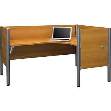 Bestar Pro-Biz Office System Single Right L-Desk Workstation, Additional Privacy Panels, 3/4 Wall, Cappuccino Cherry