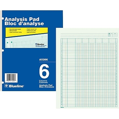 Blueline® Analysis Pad, A5206, 6 Columns