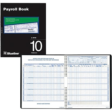 Blueline® Payroll Books, A1010, 10-Employee
