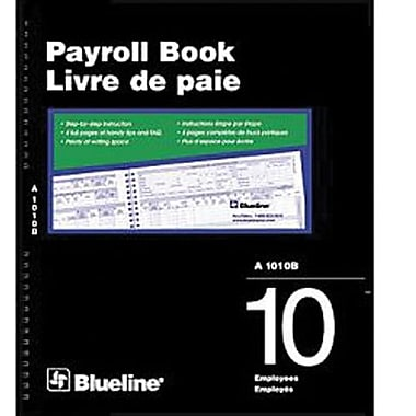 Blueline® Payroll Books, A1010B, 10-Employee, Bilingual
