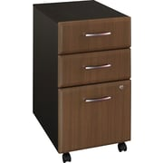 Bush® Cubix Collection 3-Drawer File Cabinet, Sienna Walnut & Bronze