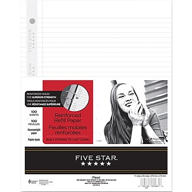 Five Star® Reinforced Refill Paper, 8-1/2