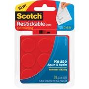 "Scotch® Restickable Dots, 7/8"" x 7/8"", 18/Pk"