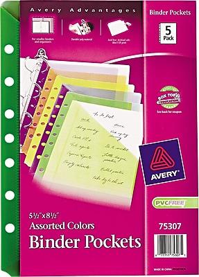 "Avery® 5-1/2"" x 8-1/2"" Assorted Binder Pockets"