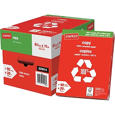 Staples® 100% Recycled FSC-Certified Copy Paper, 20 lb., 8-1/2
