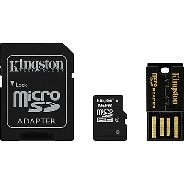 Kingston® 16GB Class 4 MicroSDHC Card Multi-Kit/Mobility Kit (MicroSD + SD Adapter + USB Reader)