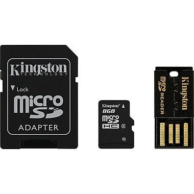Kingston® 8GB Class 4 MicroSDHC Card Multi-Kit/Mobility Kit (MicroSD + SD Adapter + USB Reader)