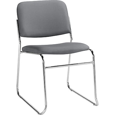 Staples® Deluxe Chrome Stacking Chair, Grey