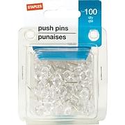 Staples® Plastic Pushpins, Clear, 100/Pk, 96 Packs/Ct