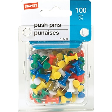 Staples® Push Pins, Assorted Colors, 100/Pack