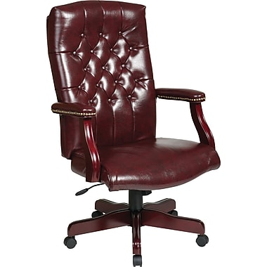 Office Star Traditional Executive Chair with Padded Arms, Jamestown Oxblood