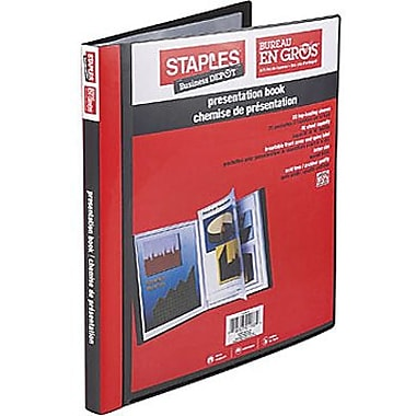 Staples® Multipocket Poly Presentation Folders, 40-Pocket, Black