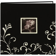 "Pioneer Scroll Embroidery Fabric Postbound Album With Window, 12"" x 12"", Black With White"