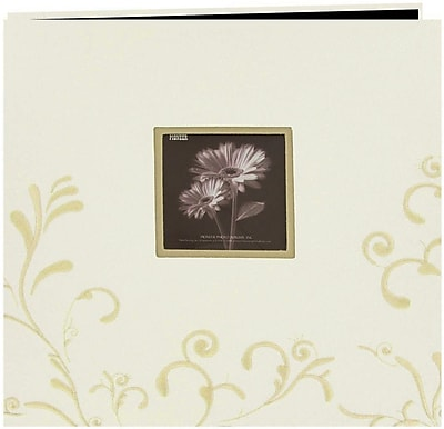 Pioneer Scroll Embroidery Fabric Postbound Album With Window, 12