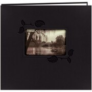 "Pioneer Embossed Leatherette Postbound Album With Window, 12"" x 12"", Black With Ivy"