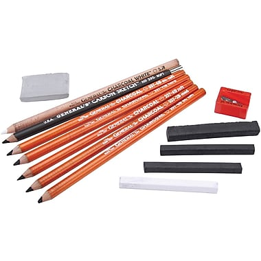 General Pencil Charcoal Kit, 12 Pieces