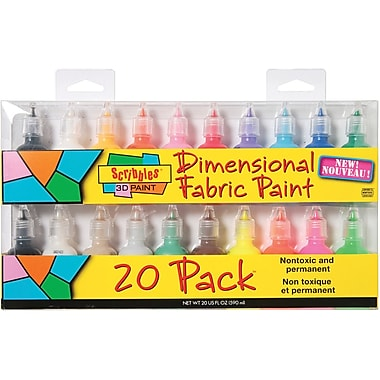 Duncan Scribbles Non-toxic 1 oz. 3D Fabric Paint, 20/Pack (SC-26515)