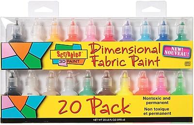 Duncan Scribbles Non-toxic 1 oz. 3D Fabric Paint, 20/Pack (SC-26515)