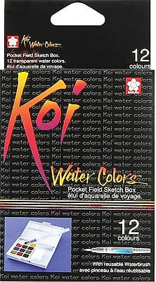 Sakura Koi Non-toxic Water Colors Pocket Field Sketch Box, 12 Colors (XNCW12N)