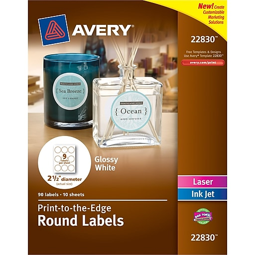 Avery Print To The Edge True Print Glossy Round Labels 2 12