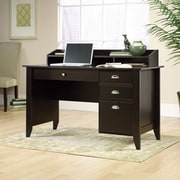 Sauder Shoal Creek Collection Writing Desk With Small Hutch, Jamocha Wood
