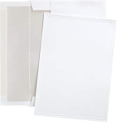Great Papers® Triple Embossed White Flat Card Invitations with Pearl Lined Envelopes