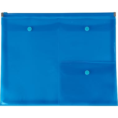Staples Plastic Zip Envelopes with Pockets, Letter Size, Blue (23229)
