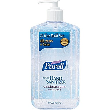 Purell® Hand Sanitizer, Unscented, Clear, 20 oz. Pump Dispenser