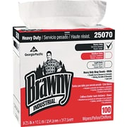 Brawny® Industrial Heavy Duty Shop Towels, White, 100 Wipes/Box, 5 Boxes/Carton (25070)