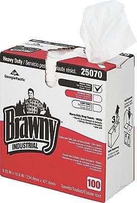 Brawny® Industrial Heavy-Duty Shop Towel, Cloth, 100 Wipes/Box
