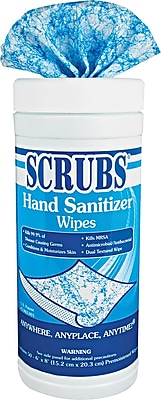 Scrubs® Cloth Antimicrobial Hand Sanitizer Wipe, 6 Tubs/Case