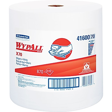 Kimberly-Clark Wypall X70 Hydroknit Wipe, Unscented, White, 13.4