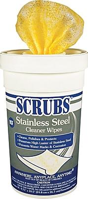 Scrubs® Stainless Steel Cleaner Wipes, Lemon, 30 Wipes/Tub