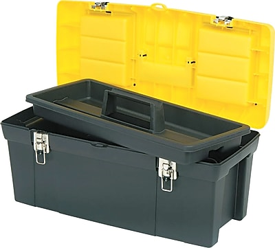 Stanley Series 2000 Toolbox With Tray, 2 Lid Compartments, Yellow/Black, 10