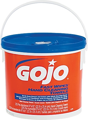 Gojo® Fast Wipes Hand-Cleaning Towels, 225 Wipes/Bucket, 7 3/4