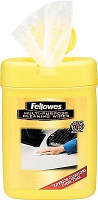 Fellowes® Cloth Multipurpose Cleaning Wipe, 65 Wipes/Tub