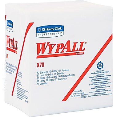 Kimberly-Clark Wypall X70 Hydroknit Wipe, Unscented, White, 13