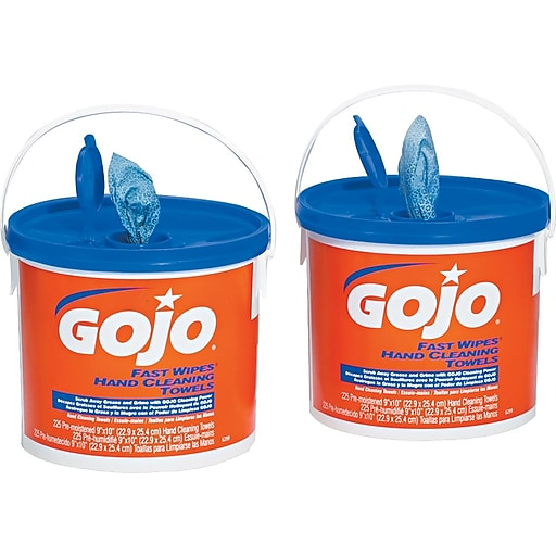 gojo fast wipes cloth hand cleaning towel orange 2 tubs case