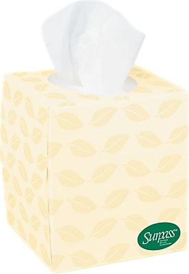 Surpass 100% Recycled Fiber Facial Tissue, Cube Box, 2-Ply, 36/Case