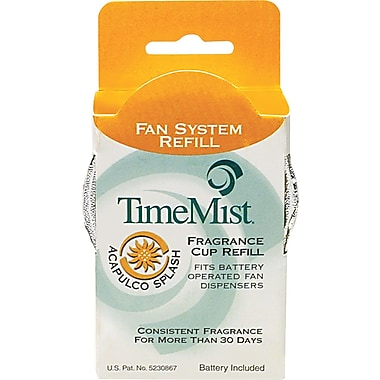 TimeMist Fan Fragrance Cup Refill, Acapulco Splash, Clear, 1 oz. Cup, 12/Case