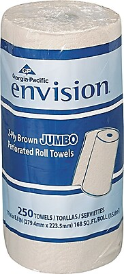 Envision® High Capacity Perforated Paper Towels, 2 Ply, Brown, 250 Sheets/Roll, 12 Jumbo Rolls/Carton (28290)