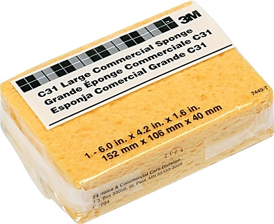 3M Commercial Cellulose Sponge, Yellow, 4 1/4