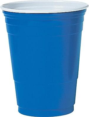 SOLO Plastic Cold Party Cup, 16 oz., Blue, 1000/Carton