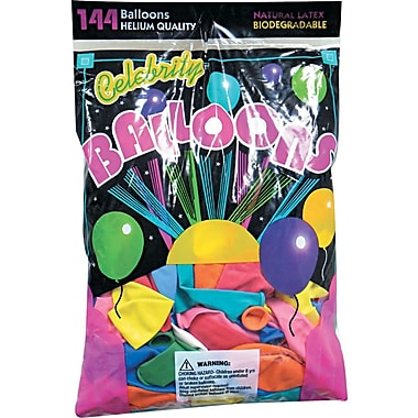 Tablemate® Helium Quality Latex Balloon, 12 Assorted Colors, 144/Pack